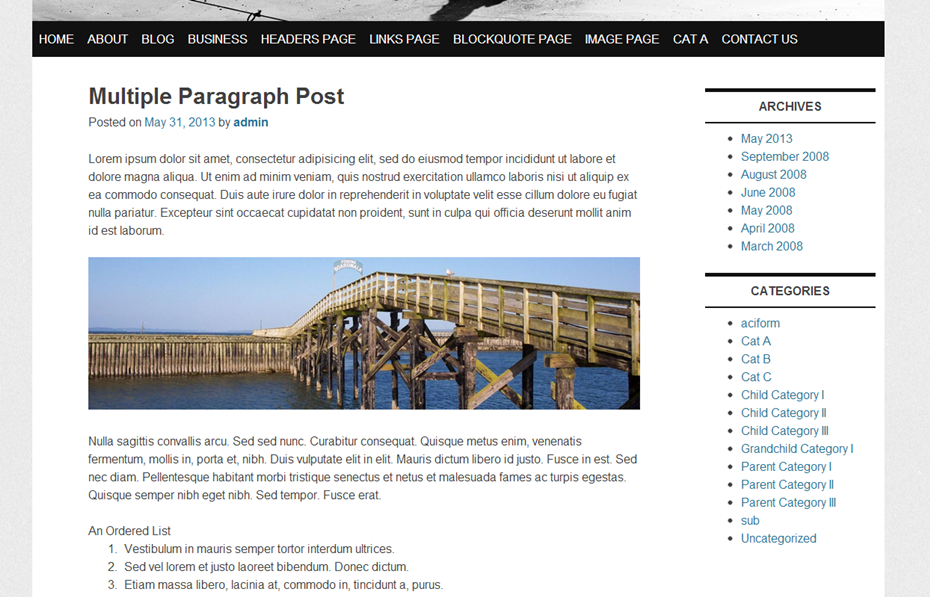 Homepage Two column Layout with right sidebar