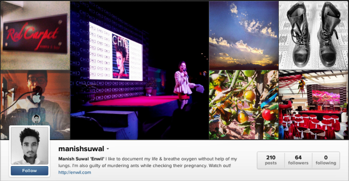 Instagram Profile of Manish Suwal Enwil