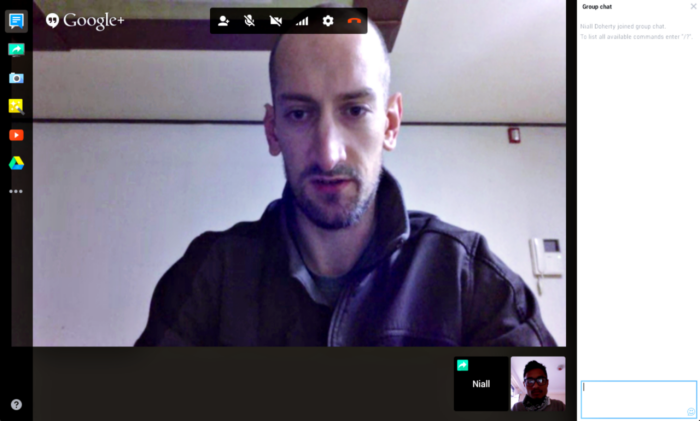 Niall Doherty on Google Hangout with Manish Suwal Enwil