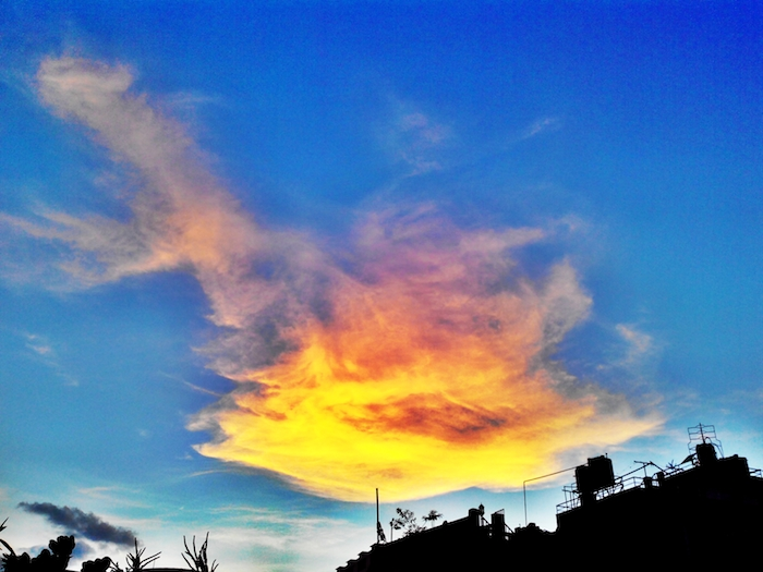 Orange Cloud in the Sky Above Buddhanagar, New Baneshwor