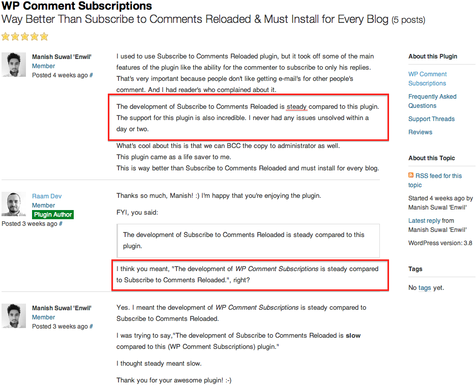 Raam Dev's WP Comment Subscriptions Plugin Review by Manish Suwal