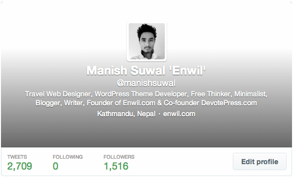 Twitter Profile of Manish Suwal Enwil