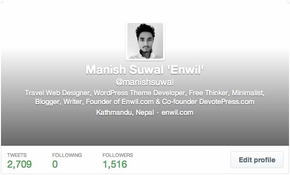 Twitter Profile of Manish Suwal Enwil