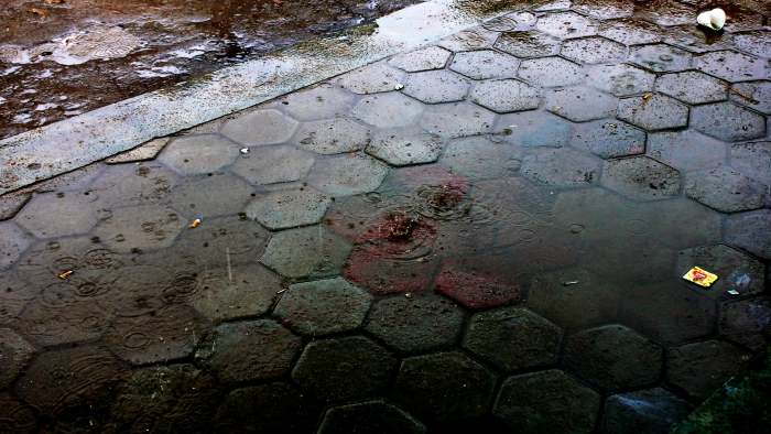 Water Droplets While Raining in Kathmandu Streets