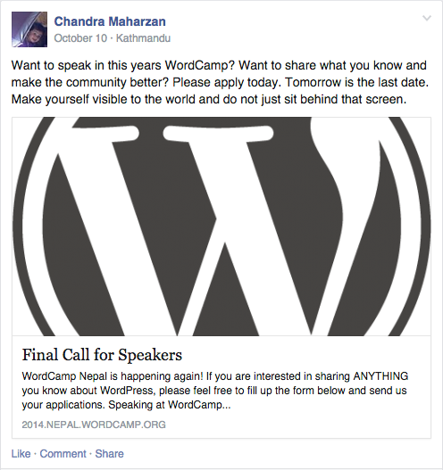 Call For WordCamp Speakers 3