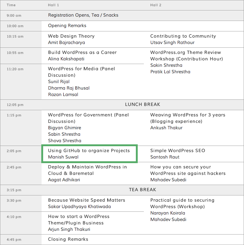 WordCamp Nepal 2014 Schedule