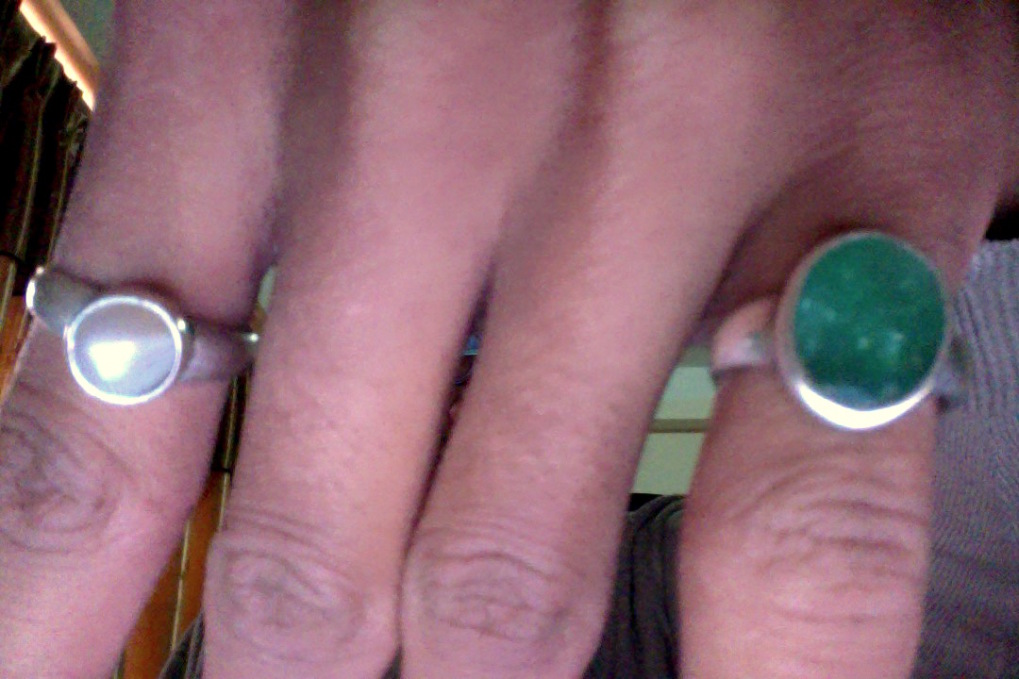 Two Stone Rings in Finger