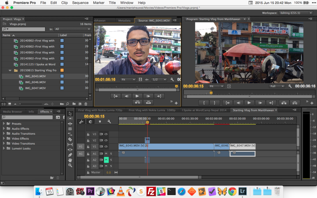 Editing Video Blog on Adobe Premiere Pro