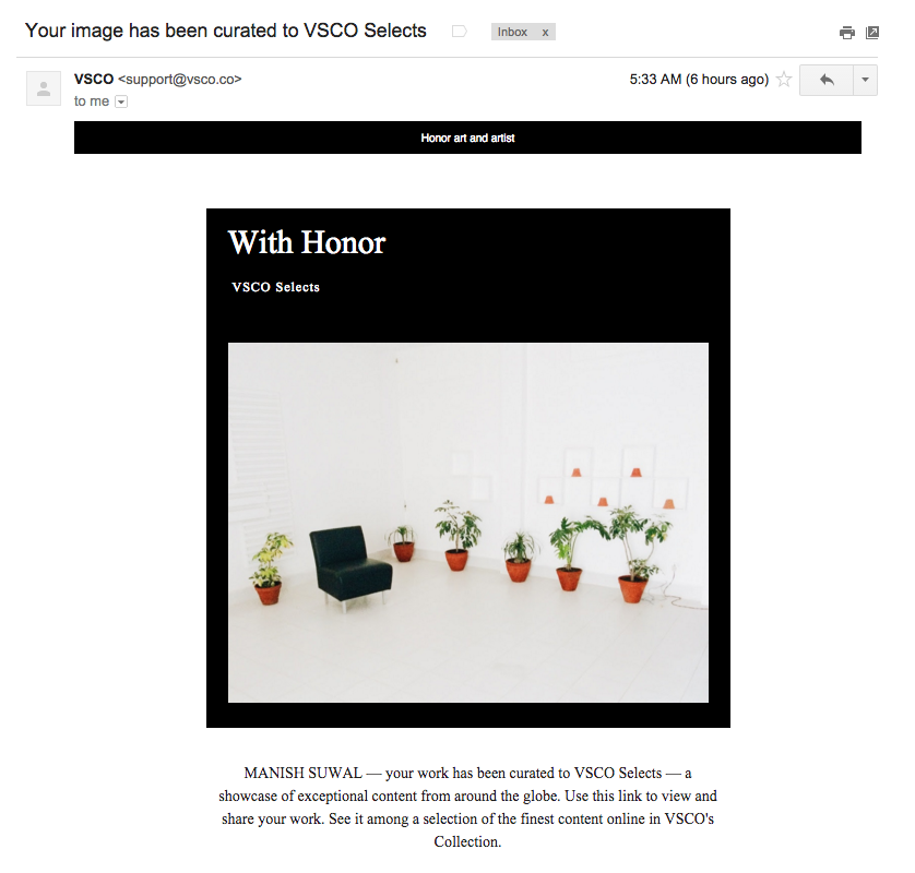 VSCO email - Your image has been curated to vsco selects