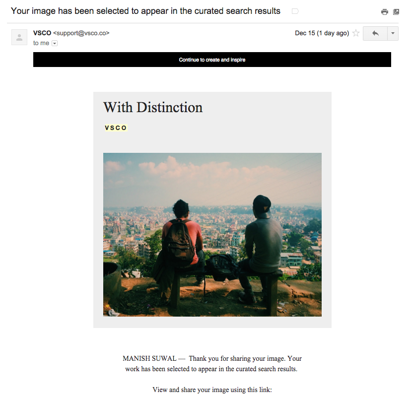 VSCO email - Your image has been selected to appear in curated search results